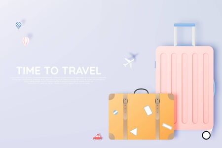 Various bag and luggage for travel in paper art style and pastel color vector illustration Stock Illustratie
