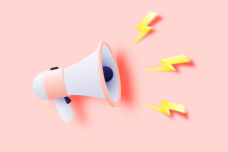 Megaphone announcement with paper art style and pastel color scheme vector illustration