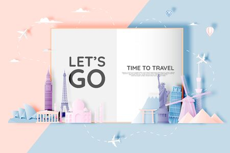 Various travel attractions in paper art style and pastel color and famous tourist landmarks elements for travel and tour. Vector illustration Çizim