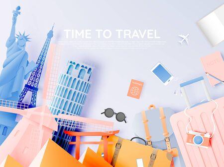 Verschiedene Reiseattraktionen im Papierkunststil und Pastellfarben und berühmte touristische Wahrzeichen für Reisen und Touren. Vektor-Illustration Vektorgrafik