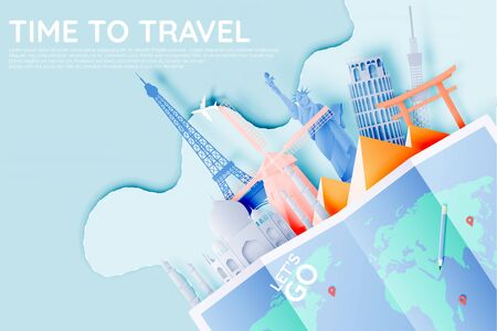 Various travel attractions in paper art style and pastel color and famous tourist landmarks elements for travel and tour . Vector illustration Çizim