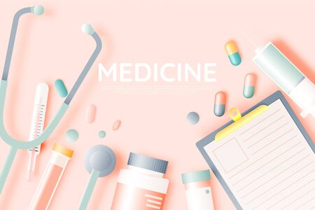 Various medical items and medicine in pastel color scheme and paper art vector illustration Banco de Imagens - 132284956