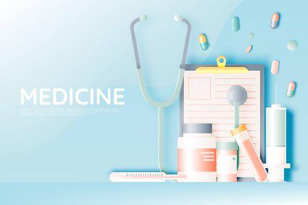 Various medical items and medicine in pastel color scheme and paper art vector illustration Ilustração