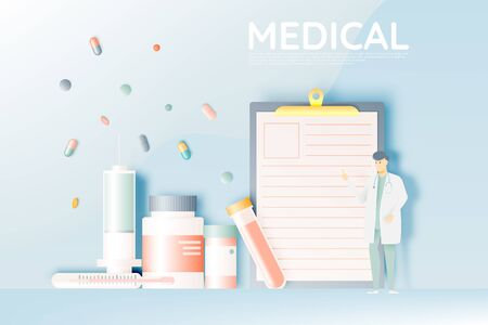 Doctor and medicine in pastel color scheme and paper art vector illustration Banco de Imagens - 132285016