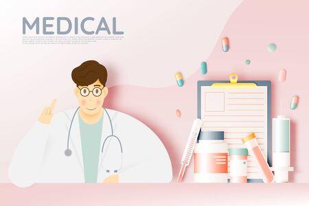 Doctor and medicine in pastel color scheme and paper art vector illustration Ilustração