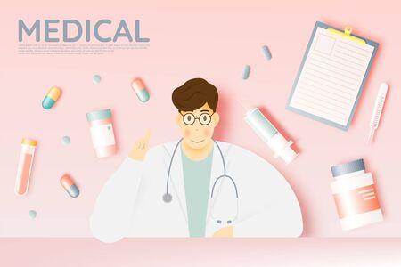Doctor and medicine in pastel color scheme and paper art vector illustration Banco de Imagens - 132285129