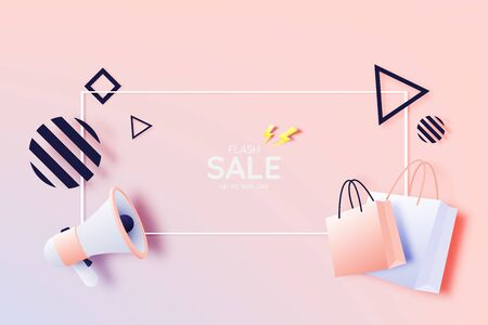 Shopping bag and Megaphone for sale banner in paper art style and pastel scheme vector illustration