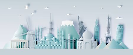 Various travel attractions in paper art style and pastel color and famous tourist landmarks elements for travel and tour. Vector illustration Ilustrace