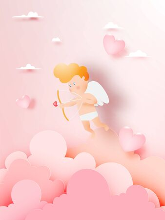 Copid falling in love with a lot of heart background and romantic pastel color vector illustration