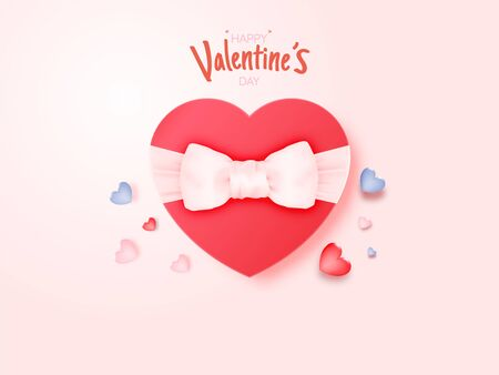 Gift for Valentine's day with a lot of heart background and romantic pastel color vector illustration Illustration