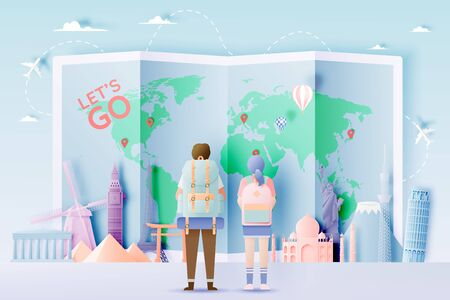 Backpacker with various travel attractions in paper art style and pastel color and famous tourist landmarks elements for travel and tour . Vector illustration