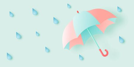Cute umbrella for monsoon season with pastel color scheme and paper art style vector illustration