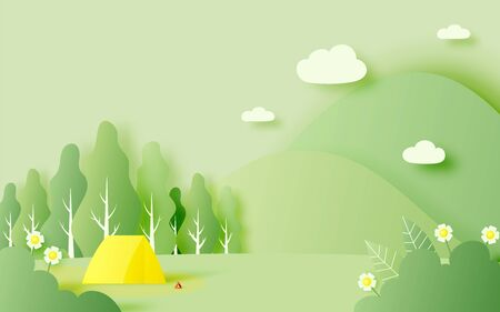 Beautiful natural landscape with tent for spring summer season in paper art style  background and pastel color scheme vector illustration