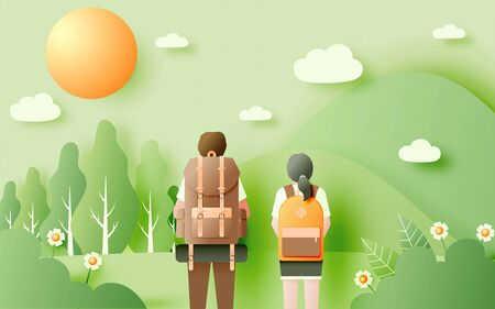 Backpacker with beautiful natural landscape paper art style background and pastel color scheme vector illustration