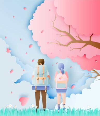 Backpacker couple with cherry blossom tree in the grass field paper art style vector illustration