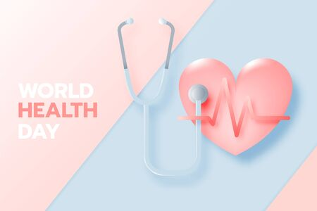 World health day banner in paper art style and pastel color scheme vector illustration