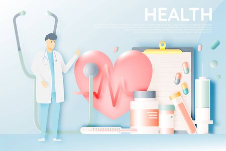 Doctor and medicine in pastel color scheme and paper art vector illustration Vectores