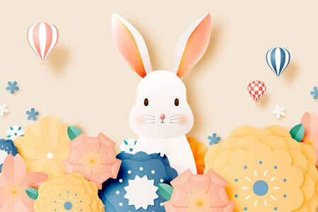 Cute rabbit and floral paper art with pastel color scheme vector illustration