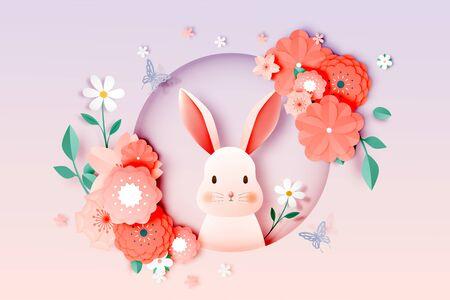Cutest rabbit and floral paper art with pastel color scheme vector illustration
