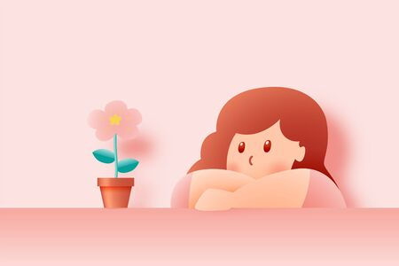 Cute girl stay at home with Beautiful flower paper art and pastel color scheme vector illustation Vectores
