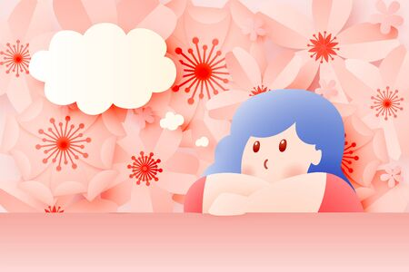 Cute girl stay at home with Beautiful flower paper art and pastel color scheme vector illustation Ilustracja
