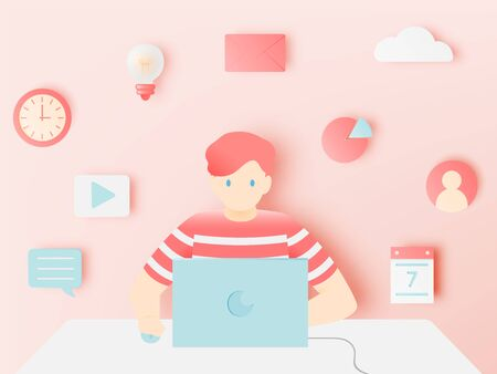 Laptop and icon for work from home  in paper art style with pastel color scheme background vector illustration Ilustracja