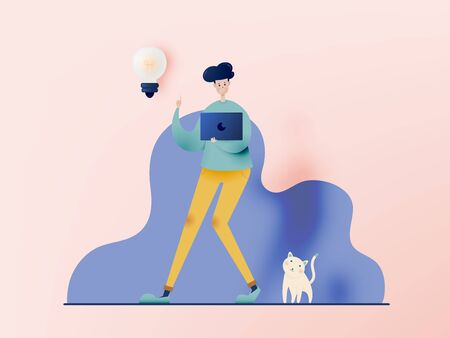 Man with laptop for work from home  idea in paper art style with pastel color scheme background vector illustration Vectores