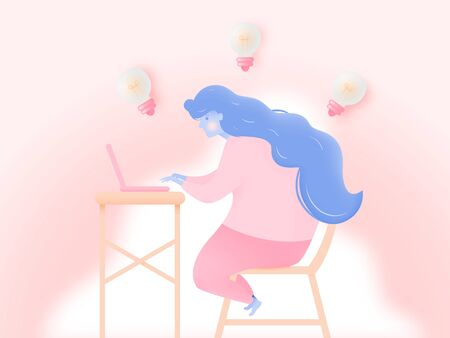 Woman with laptop for work from home  and meeting idea in paper art style with pastel color scheme background vector illustration Vectores