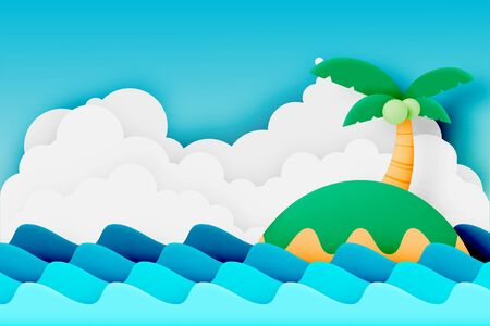 Island and the beach paper cut style vector illustration Ilustracja