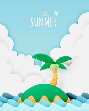 Island and the beach paper cut style vector illustration Vectores