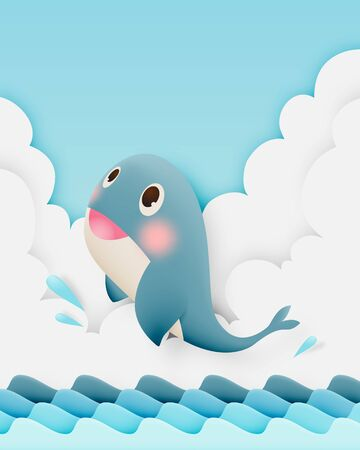 Cute whale with ocean and paper art style background in pastel color scheme Illustration