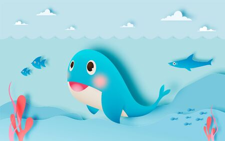 Cute whale with ocean and paper art style background in pastel color scheme Vectores
