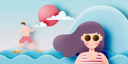 Girl with stunning summer nature background in paper art style and pastel color scheme vector illustration