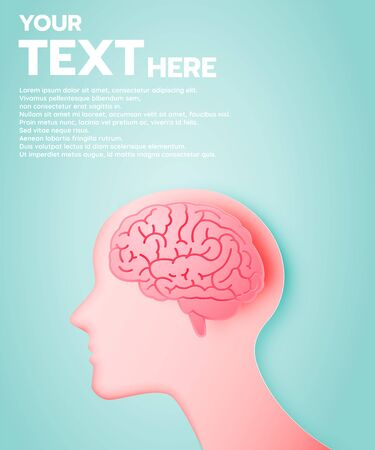 Brain with idea concept in paper art style and pastel color scheme