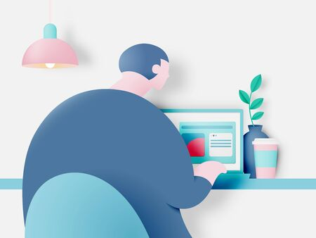 Man with laptop for work from home  idea in paper art style with pastel color scheme background vector illustration Ilustracja