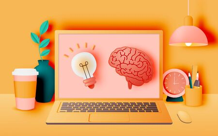 Laptop on the desk in the house for work from home with pastel and paper art vector illustration Ilustracja