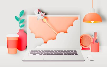 Laptop on the desk with rocket in the house for work from home with pastel and paper art vector illustration