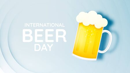 International beer day. lager beer with happy bubble banner and paper art style vector illustration Ilustracja