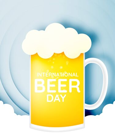 International beer day. lager beer with happy bubble banner and paper art style vector illustration Vectores