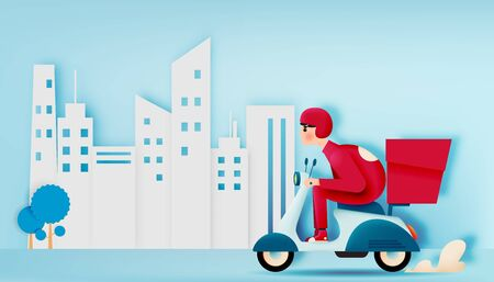 A man drive a scooter motorbike for delivery business with paper art style and pastel colorful scheme