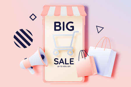 Shopping bag and Megaphone and mobile phone for sale banner in paper art style and pastel scheme vector illustration Foto de archivo - 151429067