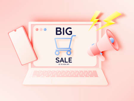Shopping bag and Megaphone and mobile phone for sale banner in paper art style and pastel scheme vector illustration