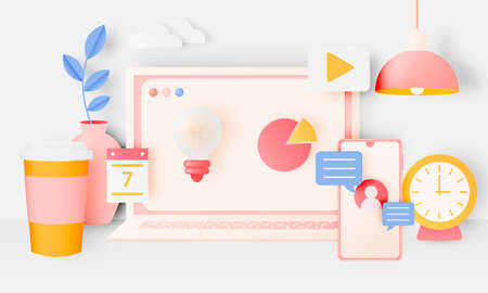 Laptop and mobile with icon for work from home  in paper art style with pastel color scheme background vector illustration Ilustracja