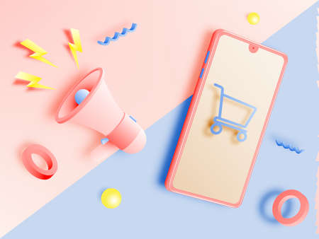 Shopping cart and Megaphone and mobile phone for sale banner in paper art style and pastel scheme vector illustration