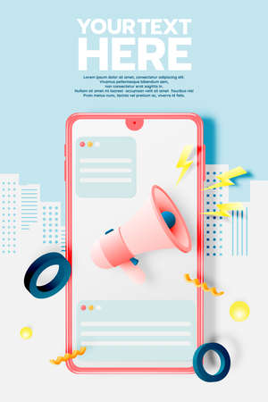 Megaphone and mobile phone for sale banner in paper art style and pastel scheme vector illustration