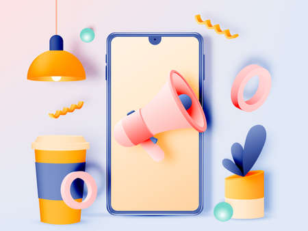 Social media marketing mobile phone concept with cute pastel color scheme and paper art style Foto de archivo - 151896410