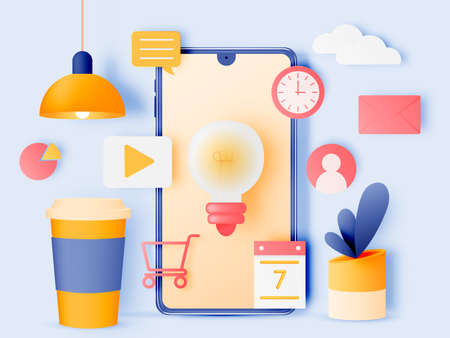 Social media marketing mobile phone concept with cute pastel color scheme and paper art style
