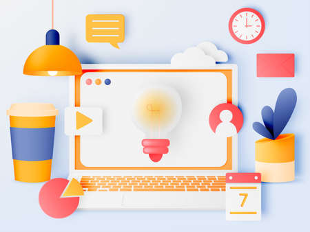 Social media marketing laptop concept with cute pastel color scheme and paper art style