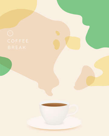 Coffee break background with coffee cup and pastel color scheme Foto de archivo - 153330393