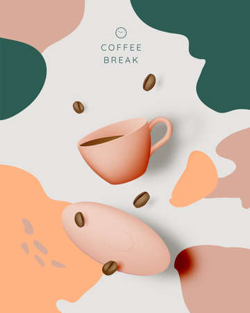 Coffee break background with coffee cup and pastel color scheme Foto de archivo - 154297046